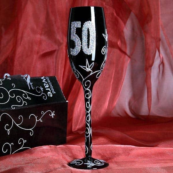 schwarzes Champagnerglas zum 50. Geburtstag