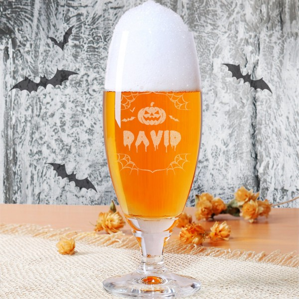Halloween Pilsglas mit Name, für die perfekte Halloween Party