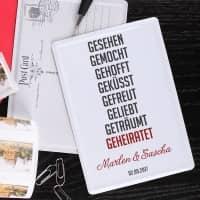 Blechpostkarte mit kurzer Lovestory, Namen und Datum