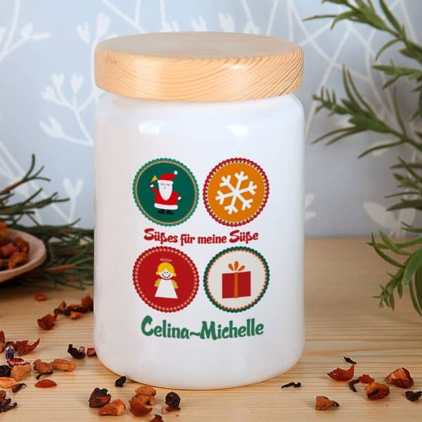 Aufbewahrungsdose aus Keramik mit Weihnachtsmotiv