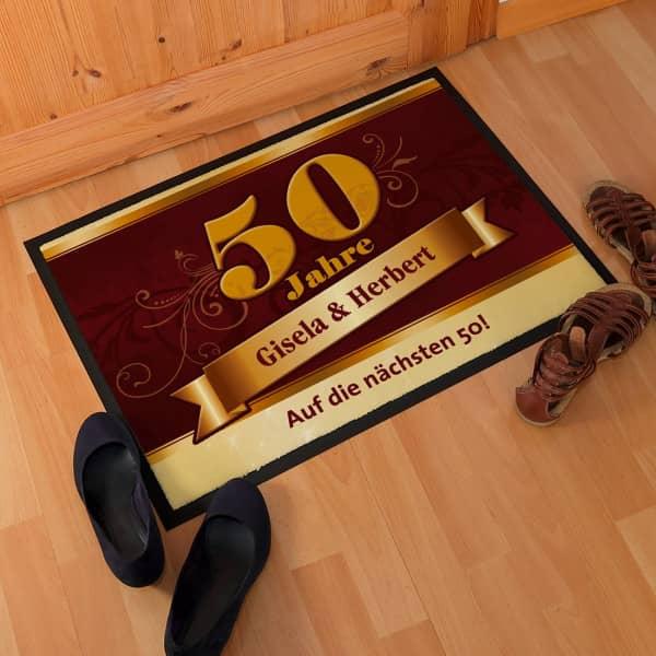 Fußmatte zur Goldenen Hochzeit mit großer 50