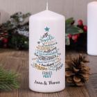 Stimmungsvolle Weihnachts-Kerze mit Wunschtext