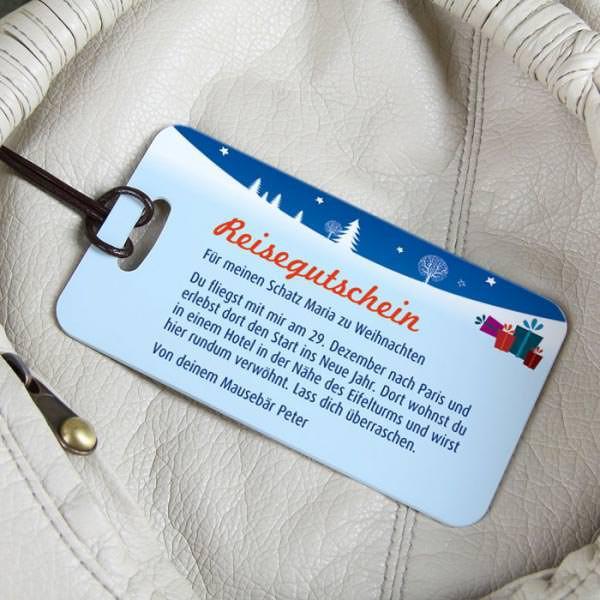Weihnachtlicher Kofferanhänger als Reisegutschein