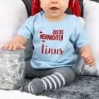 Hellblaues Babyshirt Erstes Weihnachten mit Name