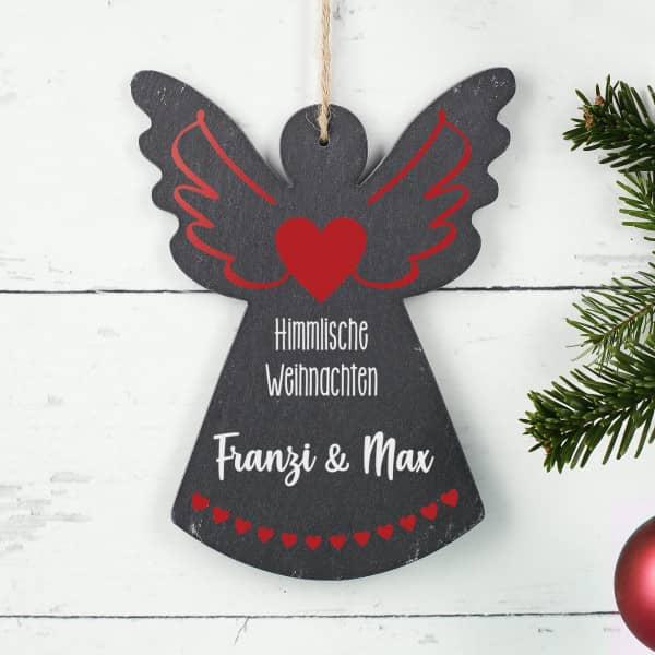 Himmlische Weihnachten - Schieferengel mit Wunschtext