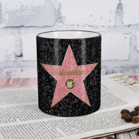 Kaffee-Tasse Walk of Fame mit Stern und Wunschnamen