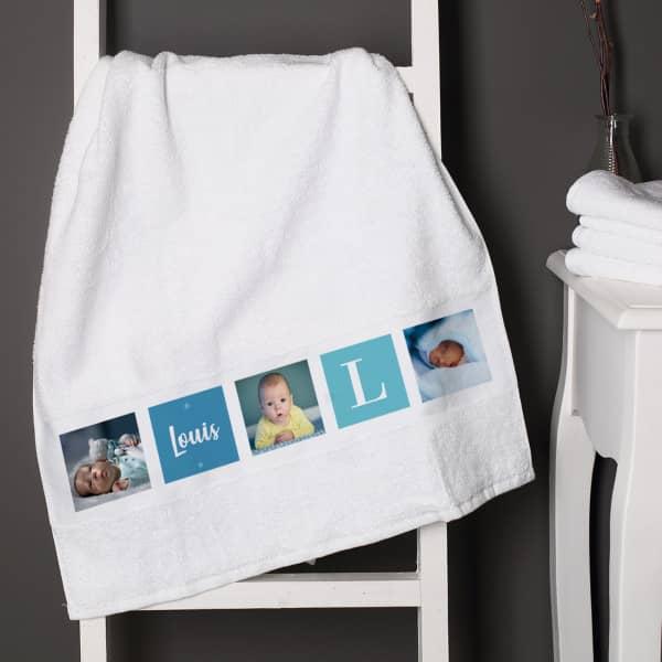 Foto-Handtuch mit Name und Initiale für Jungen