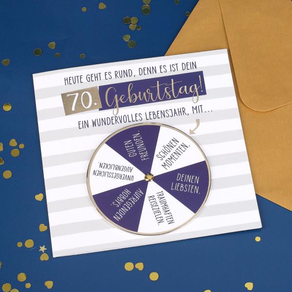 Glückwunschkarte mit Drehkarte zum 70. Geburtstag