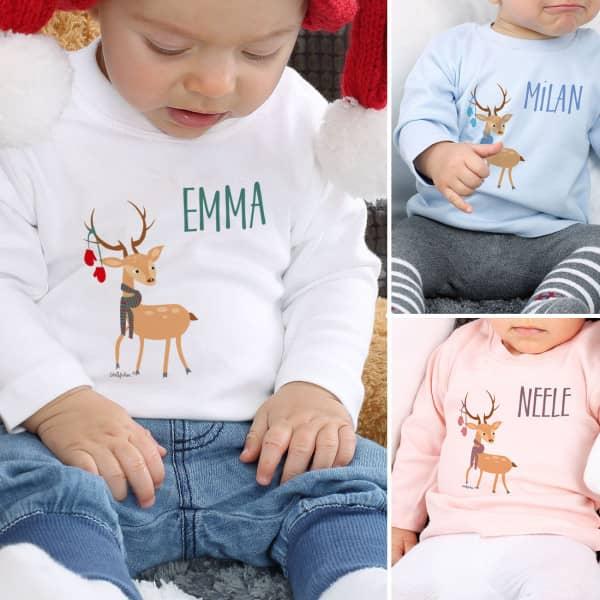 Individuellbabykind - Babypullover mit Ihrem Wunschnamen und Rentier - Onlineshop Geschenke online.de