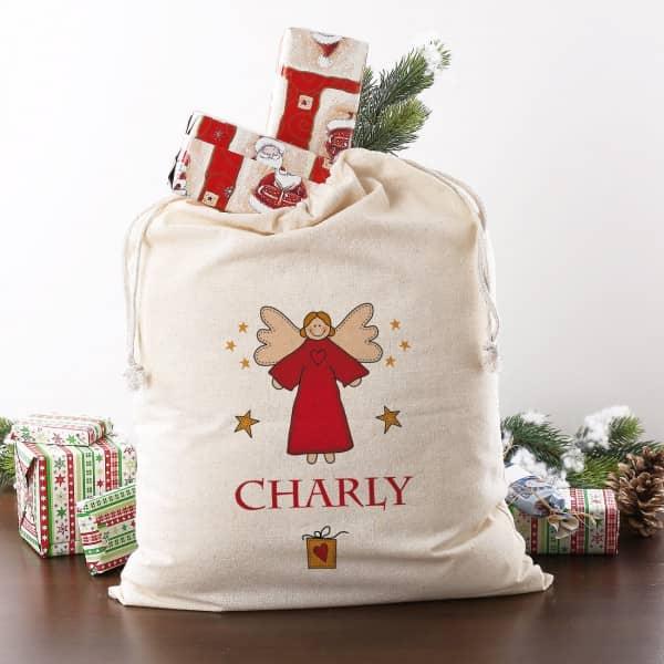 Sack Weihnachten mit Name und Engel, Geschenkverpackung
