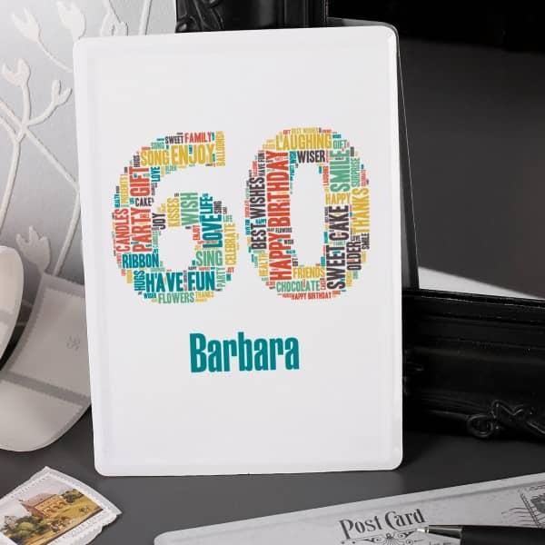 Bedruckte Blechpostkarte zum 60. Geburtstag