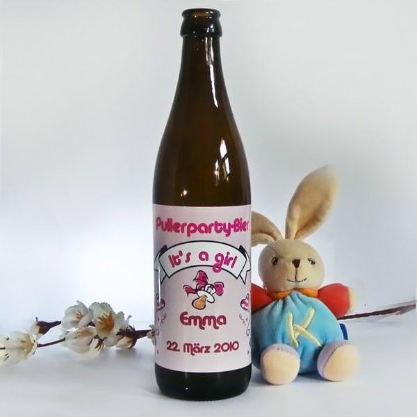 Bieraufkleber Pullerpraty für Mädchen mit Wunschname