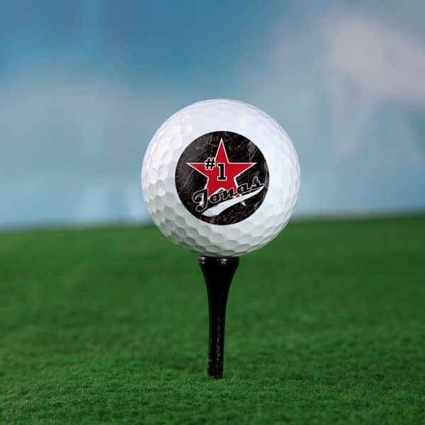 Golfball mit Wunschname Old School
