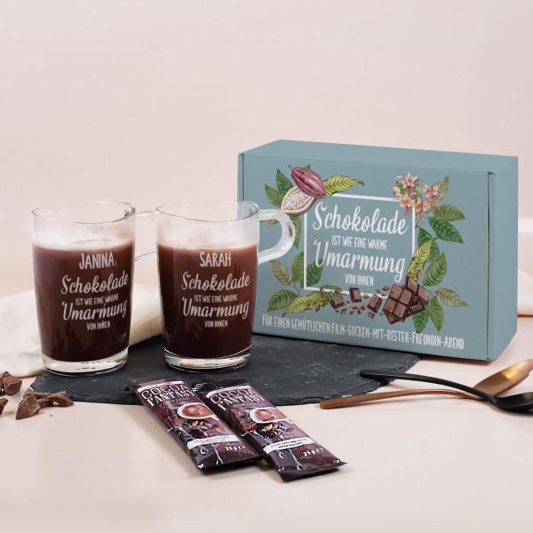 Kakao Geschenkset mit zwei Gläsern, zwei Trinkschokoladen und Geschenkbox