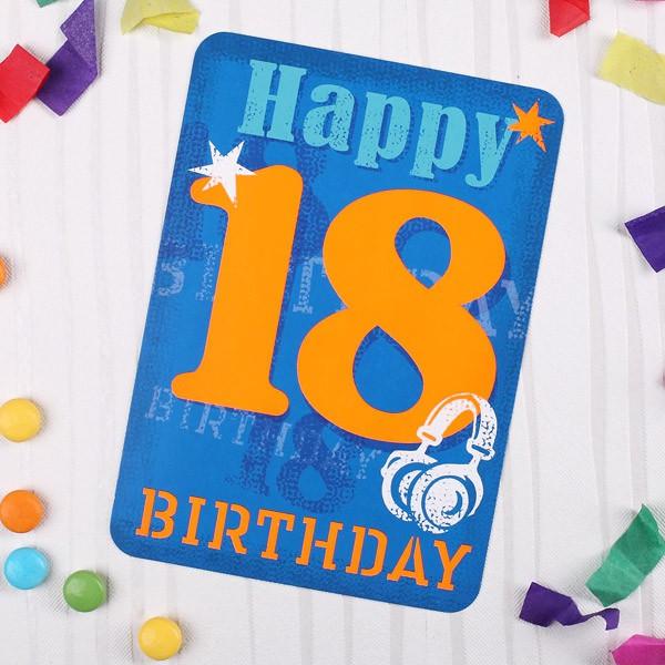 Postkartezum 18. Geburtstag in Blau