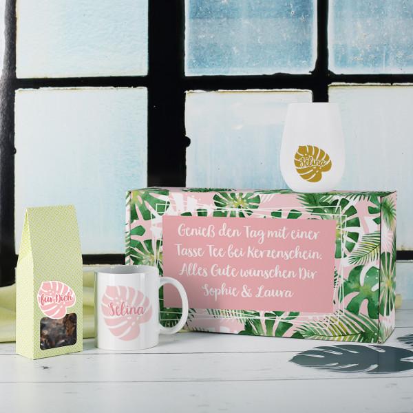 Individuellküchenzubehör - Geschenkset mit Tee, Tasse und Windlicht in Geschenkbox - Onlineshop Geschenke online.de