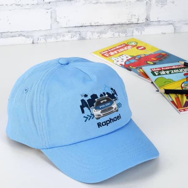 Individuellbekleidung - Kinder Basecap Polizei mit Aufdruck - Onlineshop Geschenke online.de
