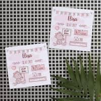 10er Set Magneten mit Geburtsangaben für Mädchen
