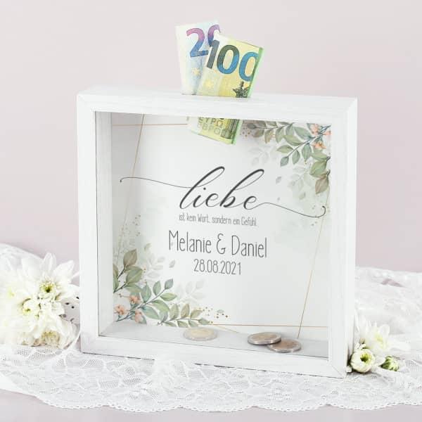 """Spardosen Bilderrahmen zur Hochzeit """"Liebe ist kein Wort, sondern ein Gefühl"""""""