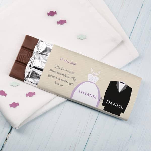 Gastgeschenk - Schokolade zur Hochzeit mit Brautpaar
