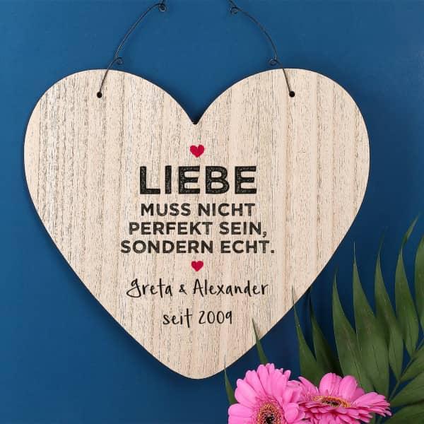Holzschild - Liebe muss echt sein