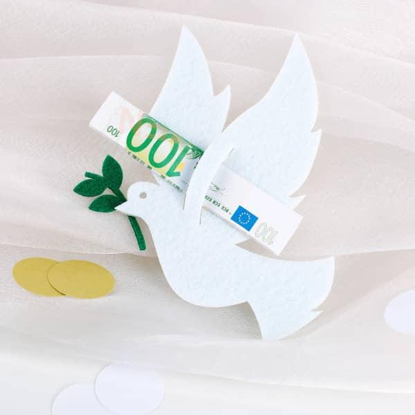 Filztaube für Geldgeschenke zur Hochzeit