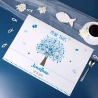 5er Set Platzdeckchen zur Taufe mit blauem Lebensbaum
