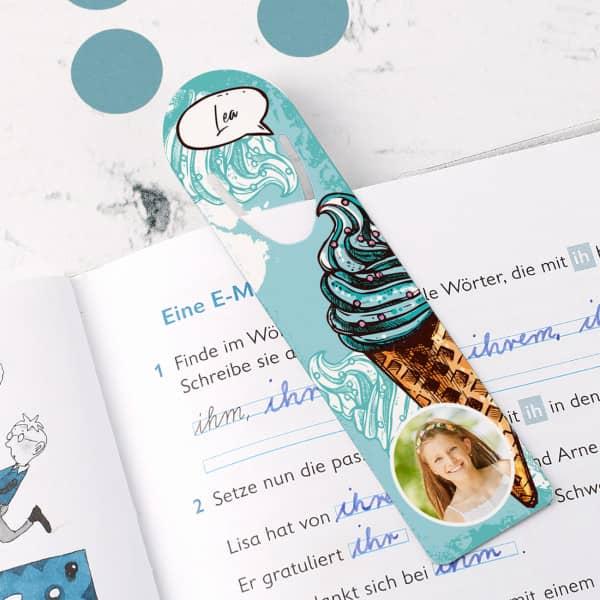 Lesezeichen mit Foto, Name und coolem Eismotiv