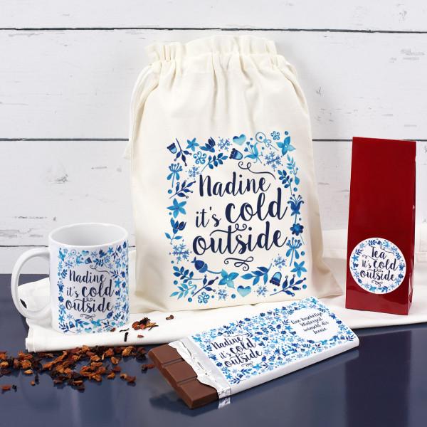 Individuellküchenzubehör - Tee Set it s cold outside mit Schokolade, Geschenksack und Tasse - Onlineshop Geschenke online.de