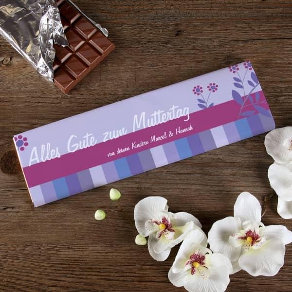 300g Muttertagsschokolade mit Blumen und persönlicher Widmung
