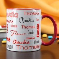 Tasse mit zwei Namen in verschiedenen Schriftarten - rot
