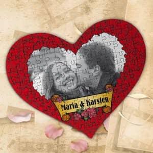 Großes Herz Puzzle mit Foto für Verliebte
