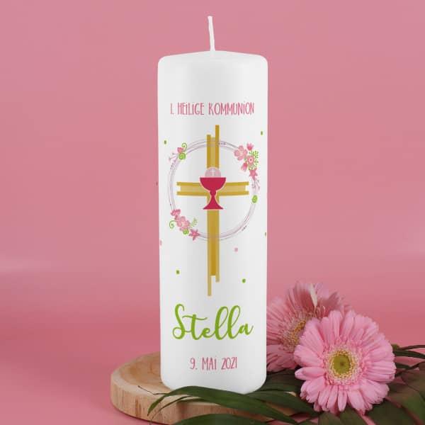 Kommunionkerze für Mädchen mit Kreuz, Kelch und Blumen