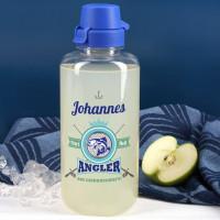 Angler aus Leidenschaft - transparente Trinkflasche mit Name 1,0 L