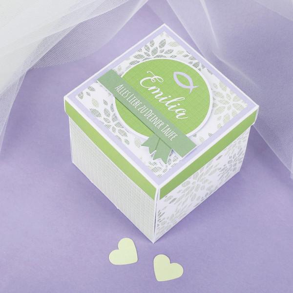 - Geschenkbox zur Taufe, Kommunion oder Konfirmation mit Name und Wunschtext - Onlineshop Geschenke online.de