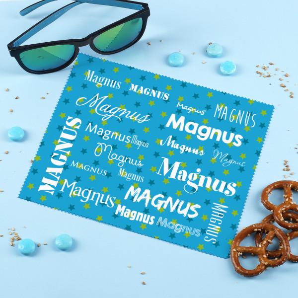 Blaues Brillenputztuch mit Ihrem Namen in verschiedenen Schriftarten
