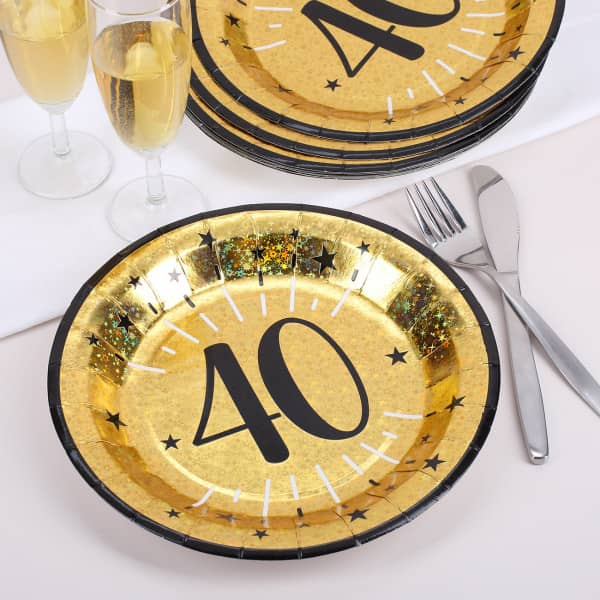 Pappteller in gold zum 40. Geburtstag