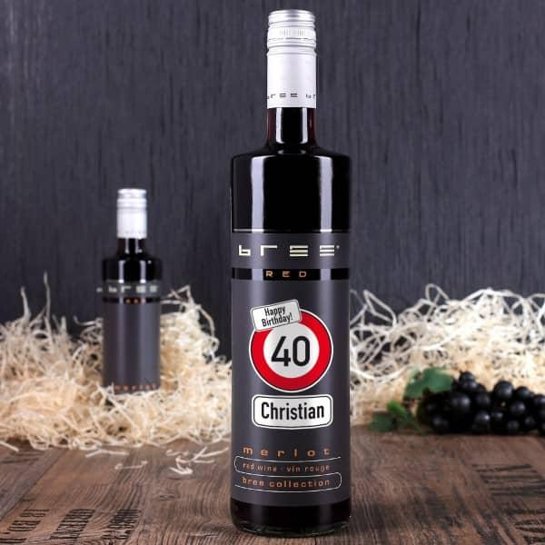 Achtung! Weinflasche mit Alter und Name zum Geburtstag
