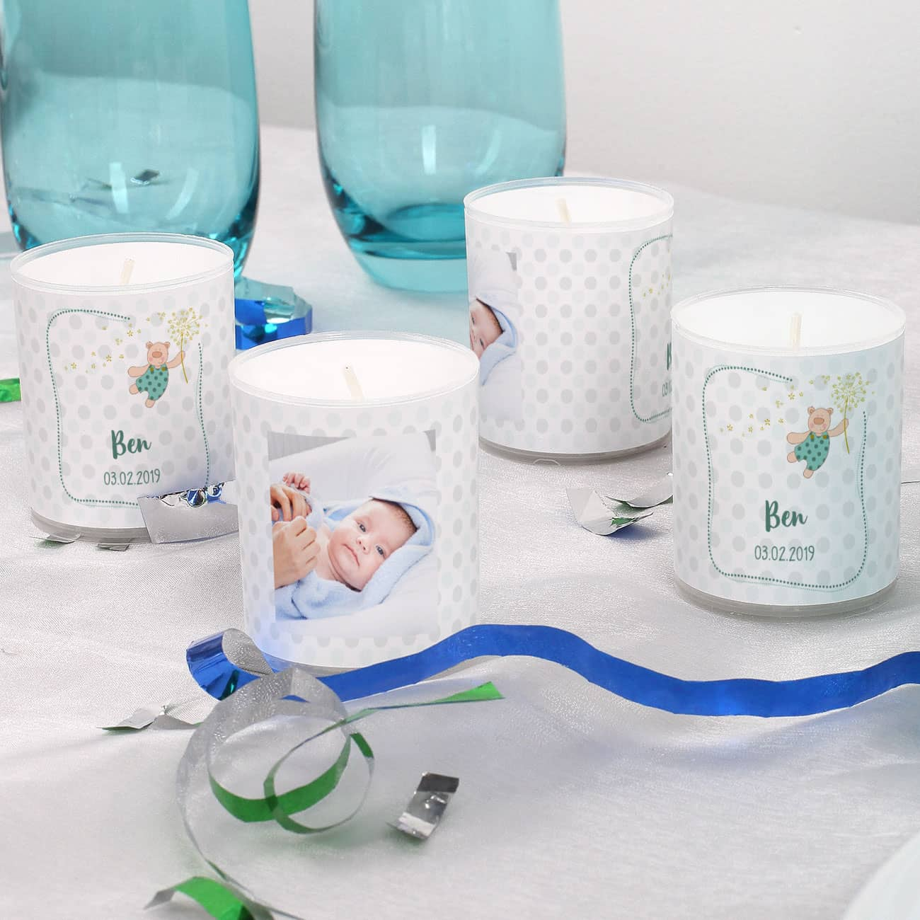4 Foto Kerzen Als Tischdeko Für Taufe Oder Babypullern Blau