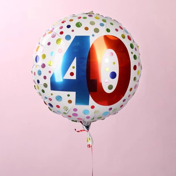 Folienballon zum 40. Geburtstag in weiß mit bunten Punkten