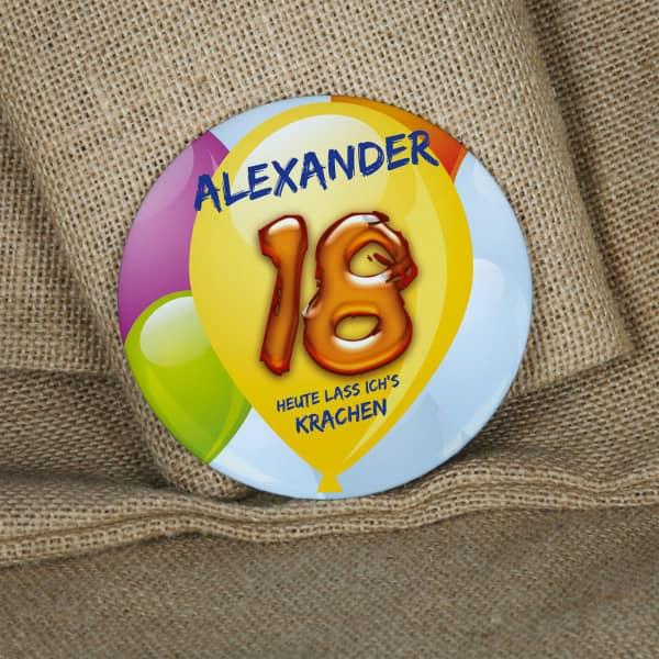 Großer Button zum 18. Geburtstag