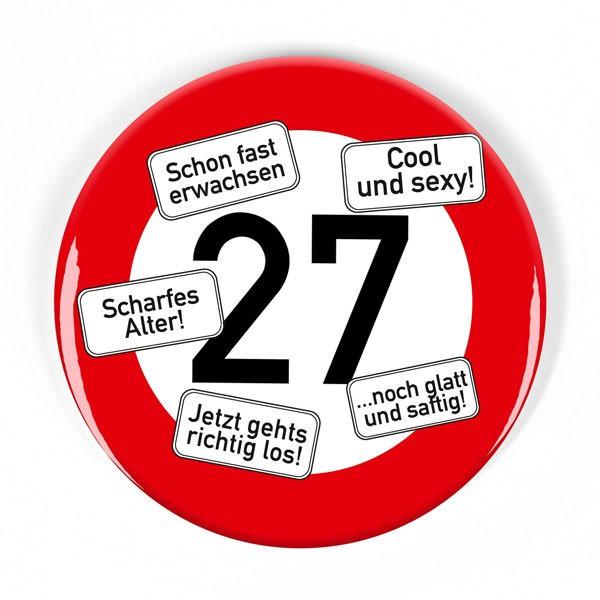 Geburtstags-Button Verkehrsschild 27