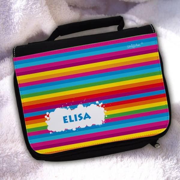 Kulturtasche mit Namen Regenbogen