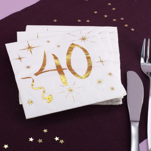 Geburtstagsservietten mit Gold-Metallic zum 40.