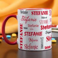 Tasse mit Ihrem Namen in verschiedenen Schriftarten - rot
