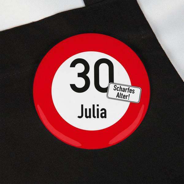 Auffälliger Button Scharfes Alter mit Name und Zahl