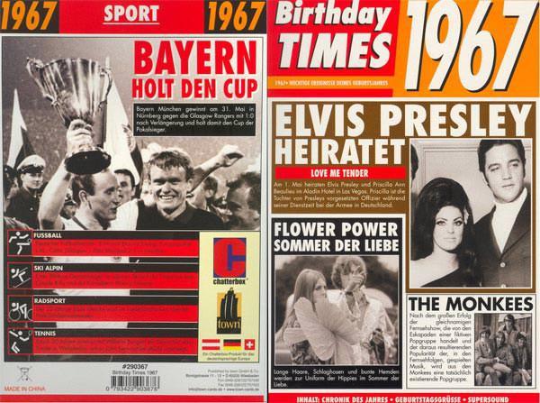 Birthday Times Karte 1967
