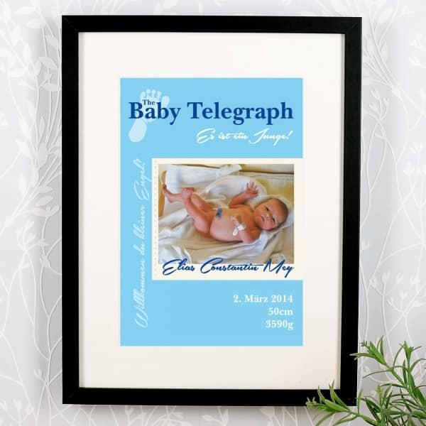 Geburtsanzeige Baby Telegraph Es ist ein Junge