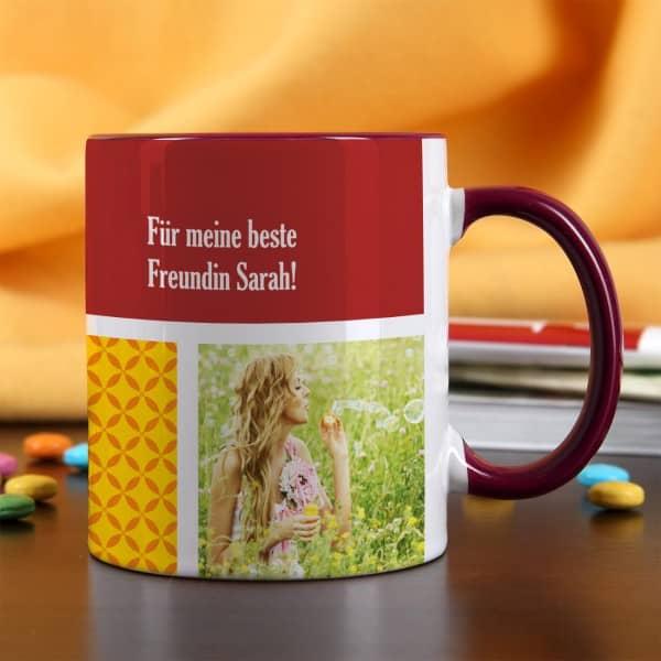 Foto-Tasse mit 3 Bildern mit rotem Rand und Henkel