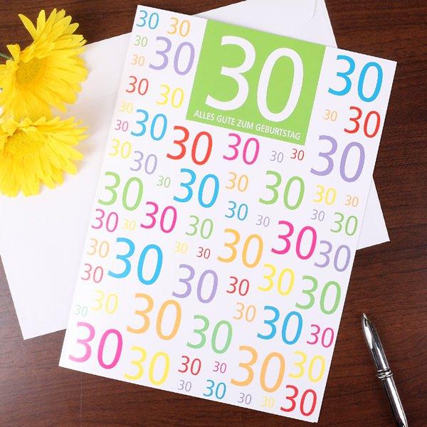 gl ckwunschkarte zum 30 geburtstag in xl geschenke. Black Bedroom Furniture Sets. Home Design Ideas